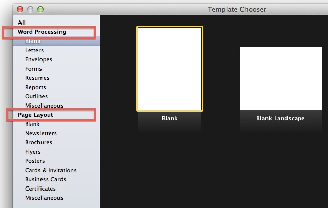 Pages '09 - Template Chooser